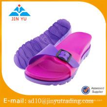 2016 fábrica de China jieyang pvc deslizador fabricantes mujeres PVC deslizador flip flop sandalia