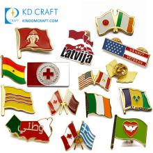 Manufacturers china cheap custom metal zinc alloy soft hard enamel bulk national country flag lapel pin badge for sale