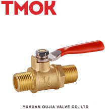 External thread red handle 1/4 brass gas valve