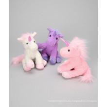 Juguete suave del mini unicornio del color diferente