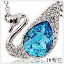 Дешевые Романтический лебедь кристалл горный хрусталь ожерелье кулон