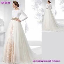 Western Luxuriöses, stilvolles langes Hülsen-weißes Spitze-Hochzeits-Kleid-Braut