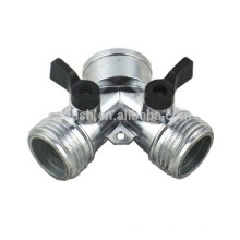 zinc Y hose splitters with valve