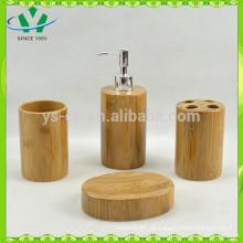 Conjunto de baño de bambú de cerámica, muebles de baño de lujo