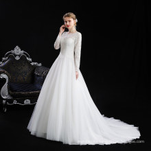 newest style stand collar Muslim women wedding dress plus size lady bridal gown with tailing