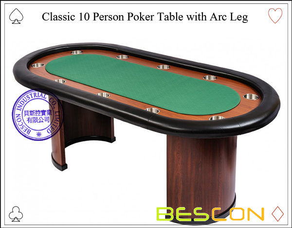 Classic 10 Person Poker Table with Arc Leg