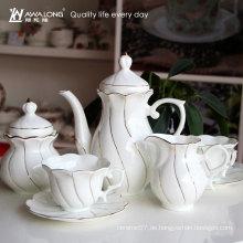 15pcs Blumenformentwurfsart und weiseformgoldlinie Porzellankaffeesatz, feiner Knochenporzellantee stellte Kaffeezuckersatz ein