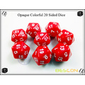 Colorful Opaque Polyhedral 20 Sided Dice