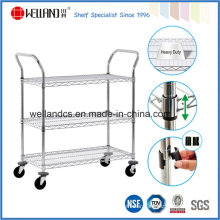 Adjustable Heavy Duty Chrome Metal Storage Wire Shelving Trolley, NSF Approval