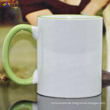 Sublimation 11oz Rim und Griff Farbe Keramik Tasse Made in China bei niedrigen Preis Großhandel