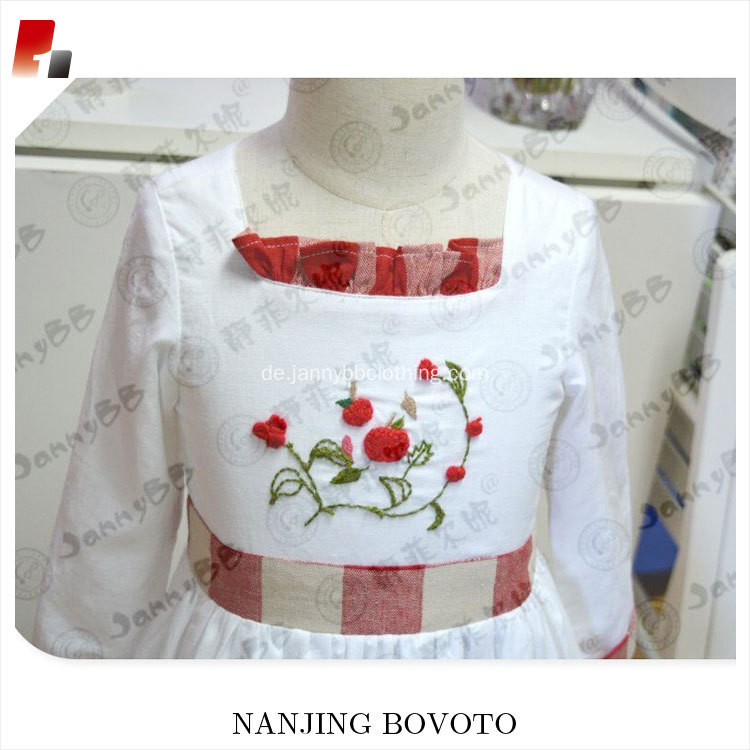Summer embroideried dress red ginghem ruffle remaked