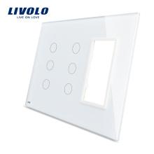 Livolo Белый 170мм * 125мм Стандарт США с тройным остеклением Стеклянная панель для настенного розетки с сенсорным переключателем VL-C5-C3 / C3 / SR-11