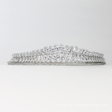 Moda exquisito cristal brillante tocado de boda corona accesorios para el cabello nupcial