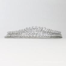 Cocar de casamento de cristal elegante requintado e brilhante acessórios para cabelo de noiva em forma de coroa