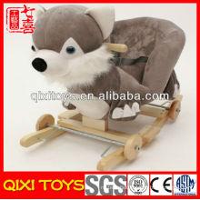Customized logo cute gift plush fox rocking chair with wheels