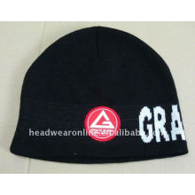 embroidery knitted beanie hats with jacquard logo