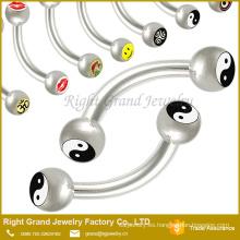 Cuerpo de ceja de acero quirúrgico 316 L Piercing Barbell con Logo
