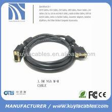Plaqué or Noir SVGA Câble VGA M / M Câble Projecteur Ordinateur Moniteur de câble