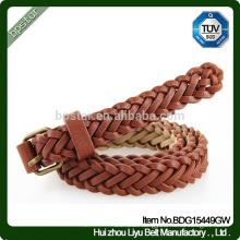 Factory Wholesale Fashion Lady Genuine Belt Leather Braided Belt