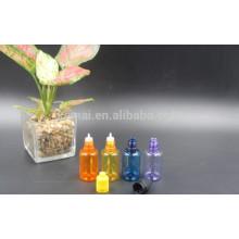 Botella del color del aceite de PET de 30ml con la tapa de rosca de la presión