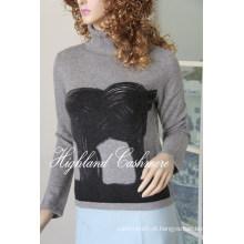 Tartaruga de pescoço de tartaruga de senhoras com impressão Cprp1106L