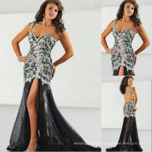 One Shoulder Sweetheart Backless Heavy Beaded Miss USA Pageant Dress Party Dress with Rhinestones RO13-27