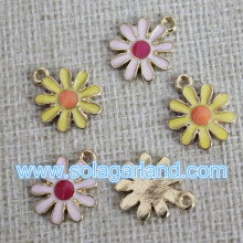 European Style Beautiful Charming Oil Driping Flower Metal Pendants 14MM