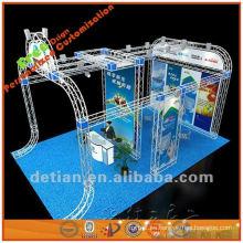 Mapa de stand abierto de tres lados, exhibición de cabina de feria de diseño personalizado hecha de pantallas de truss de aluminio