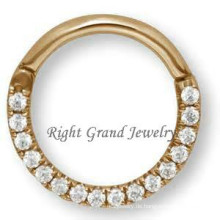 16G Gold plattiert indische Nase Ring Septum Nase Diamantringe