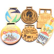 Custom Made Wood Engraved Sports Marathon Running Race Award Souvenir Wooden Medal With Ribbon