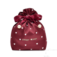 Adorable Embroidery Gift Bags Drawstring Luxury Satin Storage Bag