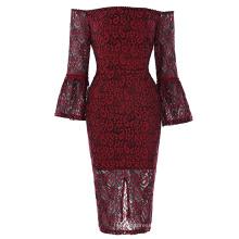 Kate Kasin Womens Sexy Lantern Sleeve Off the shoulder Wine Red Lace Dress KK001049-1