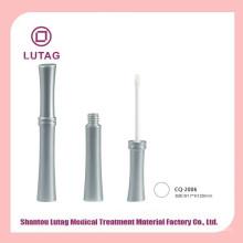Frasco cosmético acrílico brilho labial vazio prata de tubo