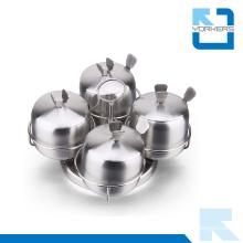 4 Pieces 201 Stainless Steel Rotating Sugar Salt Pepper Condiment Spice Jar
