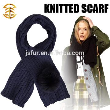 2015 New Product Fashion And Warm Winter Scarf Wholesale Fox Fur Pom Pom Crochet Scarf