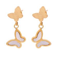 316L jóias em aço inox borboleta Set casamento acessórios 18k ouro brincos Shell jóias