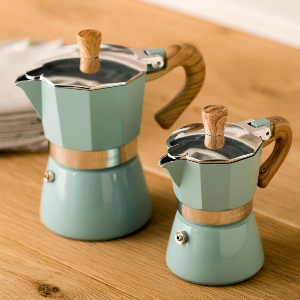 New Tifanny Blue body Wood Finish Handle and knob Coffee Maker