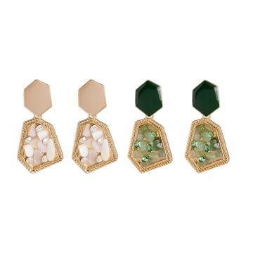 Dangle chandelier Beige Geometric Gravel-drop Oil Statement Earrings for Women Girl