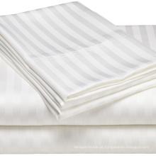 100% Algodão Hotel Bedding Set 30mm Stripe Bedsheet