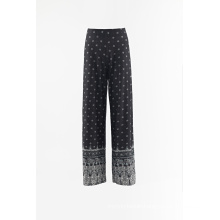Print rayon fabric loose pants