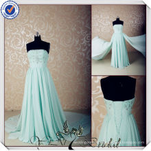 JJ3568 Newest chiffon sparkle beaded light blue wedding dresses with detachable train