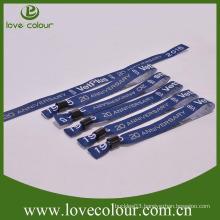 Promotional polyester wovenfabric wristbands adjustable bracelet