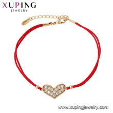 75536 Xuping Vente chaude plaqué or Élégant corde rouge forme de coeur mode Bracelet pour les femmes