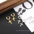 Custom Fashion Stainless Steel Hoop Earrings With Cross Men And Women Silver Gold Black