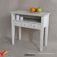 3 ящика потрепанный деревянный стол консоли белый