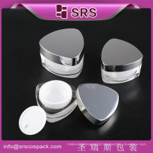 SRS China manufacturer hot sale triangle shape cute plastic cosmetics empty jar, acrylic cream packaging with shiny screw lid