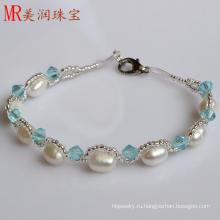 100% Подлинная пресной воды Pearl браслет ювелирные изделия для рождественского подарка