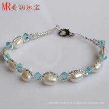 Bracelet à bracelet en perles d'eau douce authentique à 100% pour cadeau de Noël