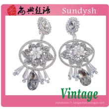 Fine fleur cristal pierre à la main belle et simple conception costume diamant tops tops 2014 tendance mode bijoux boucles d'oreilles guangzhou