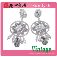 Belas flor de pedra de cristal artesanal agradável e simples projeto traje diamante ear tops 2014 tendência moda jóias brincos guangzhou
